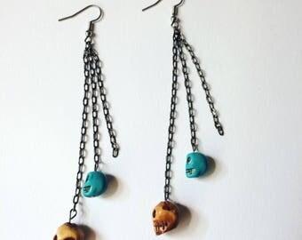Bone Skull and Blue Skull Bead Earrings // Crystal Jewelry