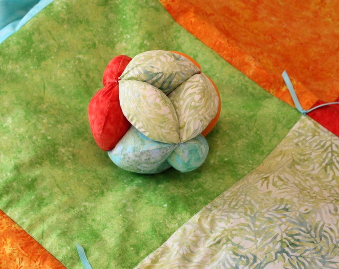 Modern Batik Hand Made Quilt and Montessori Ball Set. Bright Color Block Batik Turquoise, Green, Red, Orange Quilt and Clutch Ball Gift Set