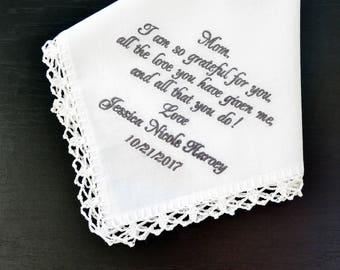 Inspirational gifts Mother of the bride gift, ideas - personalized Wedding Hankerchief bridal gift for mom from daughter special needs mom