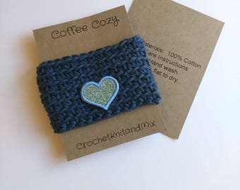 Blue Cup Cozy Cup Sleeve with blue heart applique, Crochet Coffee Sleeve, Reusable Coffee Cozy, Eco friendly cup cozy