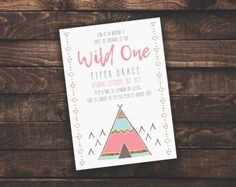 ACROBAT READER Wild One Girl 1st Birthday | Invitation Template, Boy/Kid Birthday Invite, Printable Invite, Instant Download, Easy to Edit