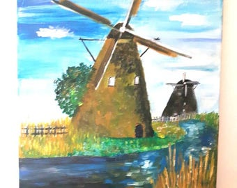 Windmill oil painting, Landscape art on canvas, Home decor