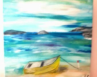 Beach painting, Oil landscape art on canvas