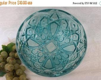"""SALE Vintage Jeannette Glass Fentec 8"""" Serving Bowl - Light Aqua Blue Color"""