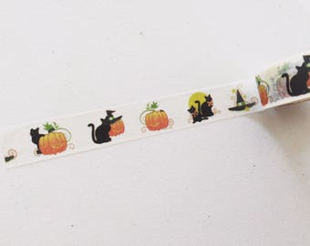 Halloween Washi Tape, Black Cat Washi, Pumpkin Washi, Halloween Planner Washi, Gift Wrapping Tape, Crafting Tape, Decorative Tape
