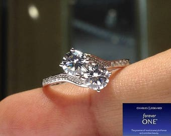 1.00 Carat 'Forever Us' 2 Stone Moissanite Ring (Charles & Colvard) WATCH VIDEO