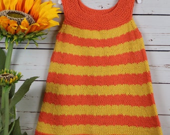 Orange and yellow striped dress, cotton Easter dress, little girls spring sundress, warm weather knits, toddler summer sleeveless jumper,