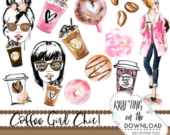 watercolor coffee clipart png file watercolor coffee clip art set watercolor planner girl png watercolor coffee girl clipart