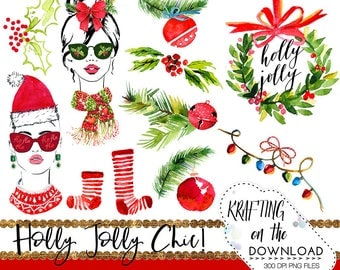 watercolor christmas clipart set christmas planner girl clip art holiday planner girl png file watercolor christmas png files christmas girl