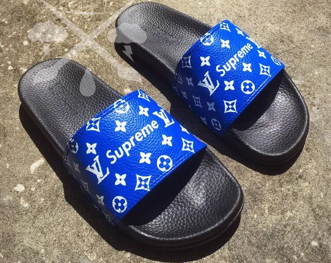 Blue Supreme Louis Vuitton Luxury Designer Custom Slides Sandals Flip Flops