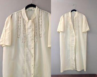 Vintage Robe Women Lightweight Robe Woman Embroidered Short Sleeve Cotton Collarless Asian Yellow White Midi