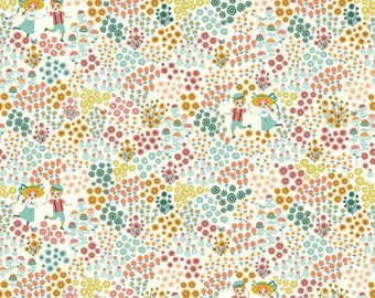 Hidden Garden Meadow Frolic - Birch Fabric Organic Cotton Double knit GOTS UK Seller