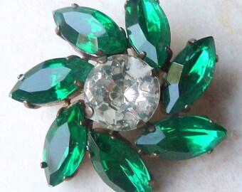 Vintage Green Rhinestone Flower Statement Brooch