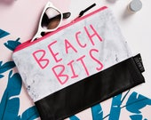 Marble and Neon Pink Beach Bits Zipper Pouch