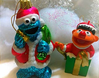 Vintage Kurt Adler Christmas Sesame Street Ornaments Cookie Monster Ernie