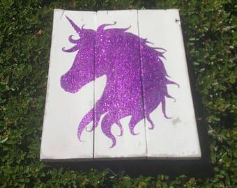 Unicorn Sign - Glitter Unicorn - Girls Room Decor - Unicorn Pallet Sign - Unicorn Decor - Glitter Sign - Birthday Gift for Girl - Tween Room