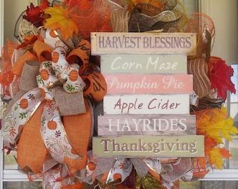 Fall Harvest Thanksgiving Wreath