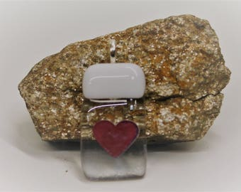 Clear Glass and Copper Heart Pendant, Heart Pendant, Fused Glass, One of a Kind Pendants