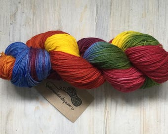 "Variegated Hand Dyed Yarn - ""Rainbow"" - 4ply/sock"