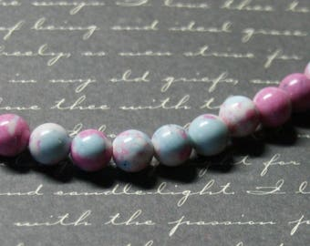 5 pink/blue/white 8mm turquoise beads
