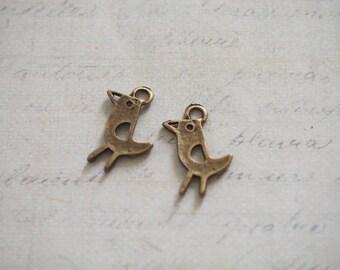 2 modern 21x13mm bronze metal bird charms
