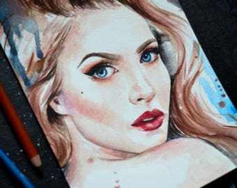 ORIGINAL ARTWORK Watercolour Pencil Portrait Sketch