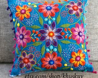 Peruvian Embroidered Pillow cushion cover Hand  flowers Sheep & alpaca wool 16 x 16 handmade Blue pillow