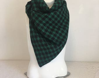green and black plaid vintage fabric scarf, houndstooth scarf, triangle scarf, bandana scarf