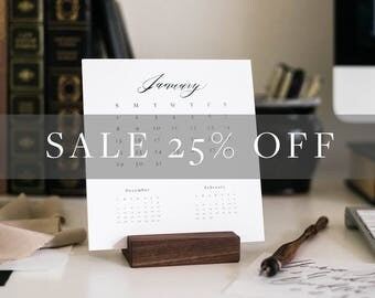 SALE 2017 calendar, desk calendar, 3 month calendar, small calendar, calendar with wood stand, calligraphy, simple - #CA100