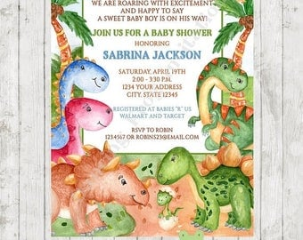 SALE Custom PRINTED Watercolor Dinosaur Baby Shower Invitations - envelope included - .99 each - by Dancing Frog Invitations