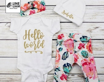 ENDS AT 12AM Baby Girl Coming Home Outfit, baby girl headband, baby girl outfit, baby girl clothes, baby girl gifts, baby girl shirt, baby g