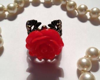 Red Rose Filigree Ring