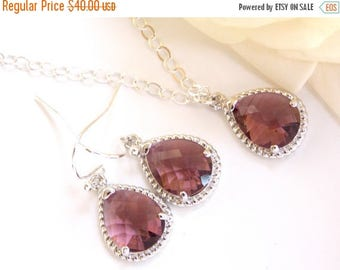 SALE Bridesmaid Jewelry Set, Plum Earrings and Necklace Set, Eggplant, Burgandy, Sterling Silver, Wedding Jewelry, Dangle,Gift, Pendant Set,