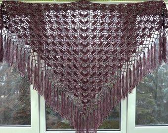 Length - top 200 cm, hand knit crochet shawl wrap - triangle shape, Russian shawl vintage style   g2.05