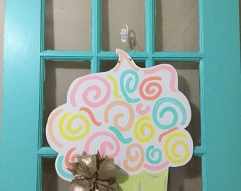 Whimsical Pastel Birthday Cupcake Door Hanger
