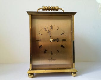 Junghans carriage  clock .  1960's Heavy Brass Electtronic ATO GERMANY