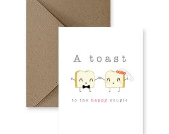 Funny Wedding Card, Cute Wedding Card,  Funny Marriage Card, Cute Marriage Card, Card for Wedding, A Toast To The Happy Couple Greeting Card