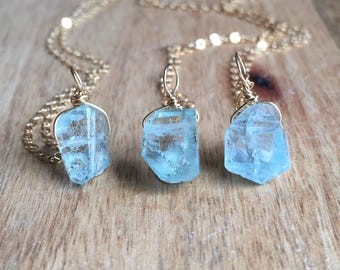 Aquamarine Necklace - Raw Aquamarine Necklace - Raw Crystal Necklace - Aquamarine Jewelry - Raw Aquamarine - Aquamarine - Gift For Her