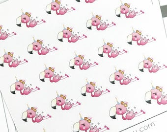 Mini Planner Stickers : 075 Pinky Flamingo is a Unicorn? / Kawaii
