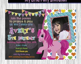 50% Off My Little Pony Invitation-Birthday party invite-Party invitation-pony birthday-pony invitation-my little pony invite-Party girl