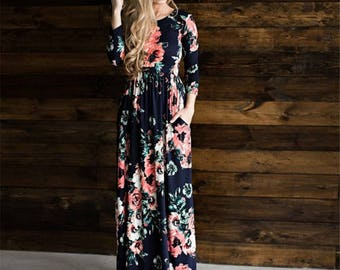 Long Sleeve Rose Maxi Dress Comes in 5 Colors