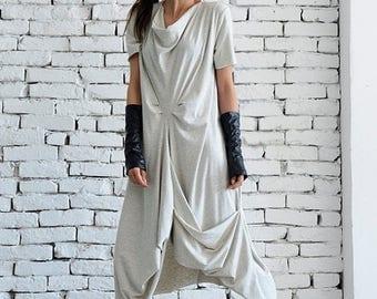 ON SALE Light Grey Casual Dress/Asymmetric Loose Tunic/Short Sleeve Long Top/Grey Maxi Dress/Oversize Kaftan/Plus Size Every Day Dress/Casua