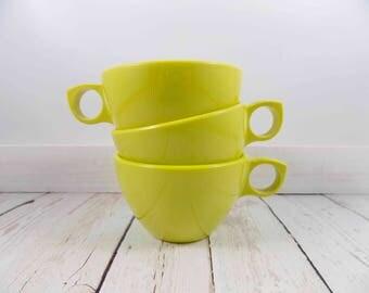 Chartreuse Prolon Ware Melmac Cups,lemon-lime color,melamine,cup,plastic,coffee cups,tea cups,mid century modern,melmac,diner,drink ware