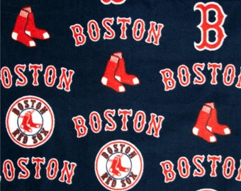 MLB Fleece Fabric - Boston Red Sox - Navy Blue Fleece - Baseball Fleece