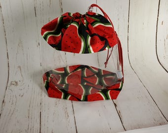 Watermelon Large Clear Vinyl Project Bag, Drawstring Bag with clear vinyl, Knitting project bag CVL0010