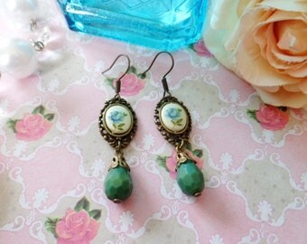 Earrings Victorian porcelain blue flower cabochon