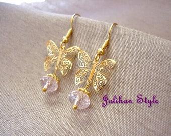 "Earrings Golden ""Bomnabi"" with Crystal"