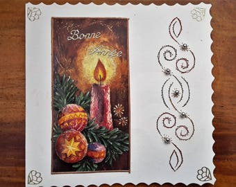 New year's Eve - card 3D hand made candle