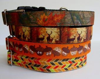 READY TO SHIP! Fall Dog Collars Leaf Camo, Deer, Acorn, Autumn Herringbone - Medium
