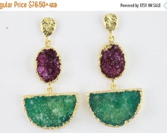 Wholesale 3 Pairs 2 station D Druzy  Geode Earrings Gold Edged